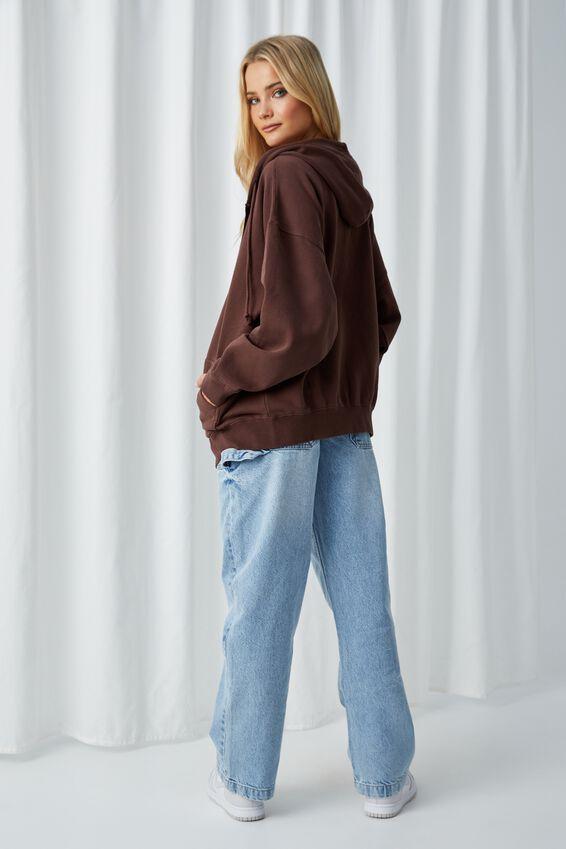 Zola Oversized Zip Through Hoodie, WASHED CHOCOLATE