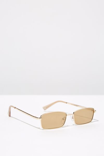 Coco Metal Rectangle Sunglasses, GOLD/GOLD