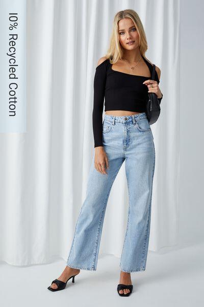 Full Length Wide Leg Jean, FOG BLUE