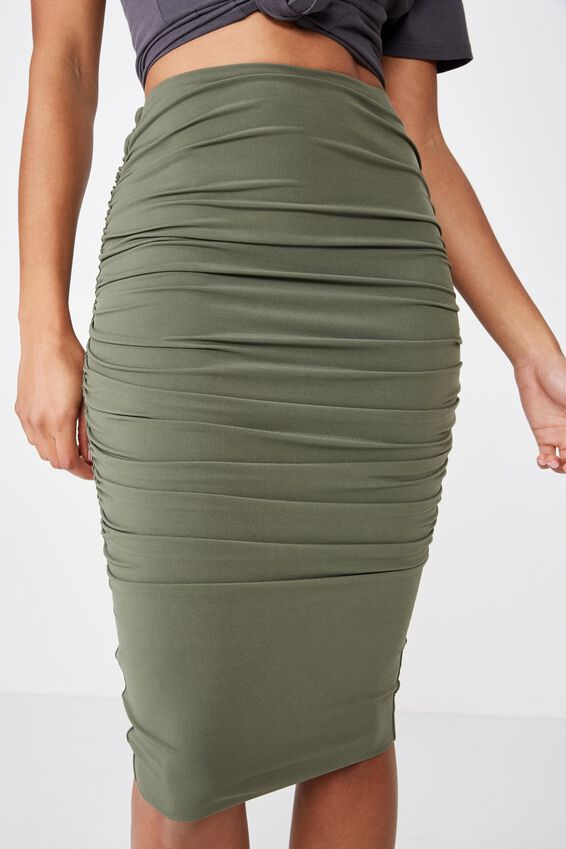 Gathered Midi Skirt, OLIVE KHAKI