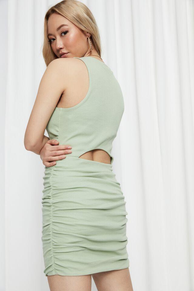 Tina Ruched Mini Dress, AVOCADO GREEN