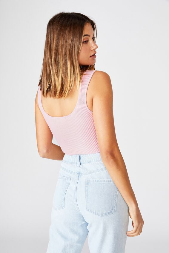 Mikaela Square Neck Knit Top, TICKLE PINK