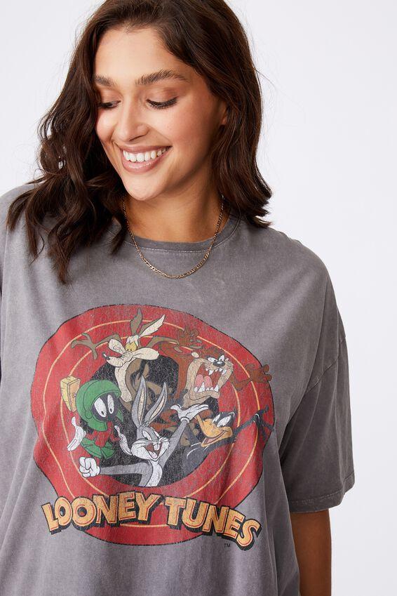 Looney Tunes Oversized Tee, VINTAGE WASH CEMENT GREY/LCN WB LOONEY TUNES