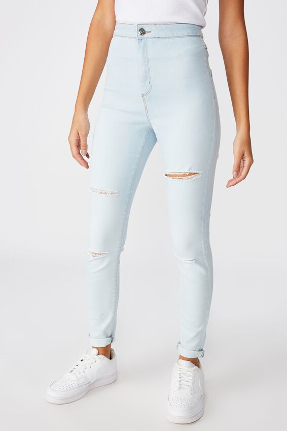 Super Skinny Sky High Ripped Jean, VINTAGE BLEACH RIPPED