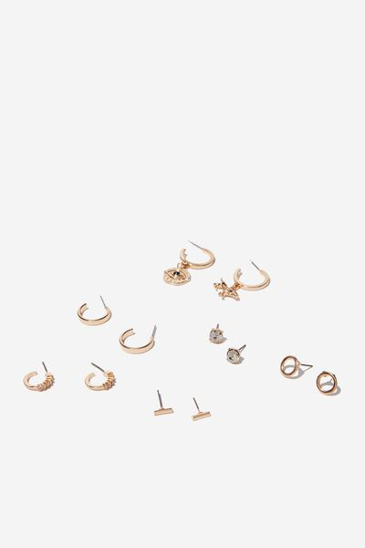 Milano Mini Charm Earring Set, GOLD