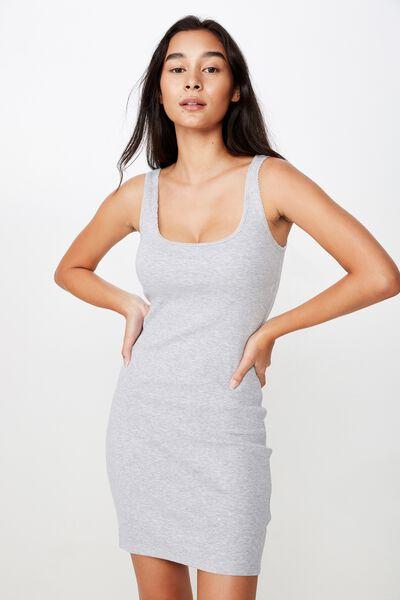 Helly Trim Mini Dress, GREY MARLE