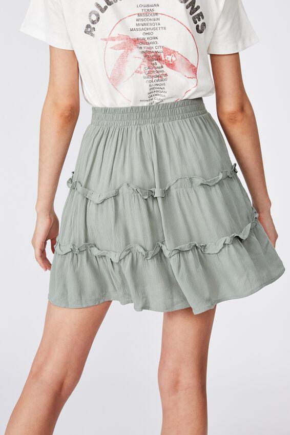 Tully Tiered Skirt, KHAKI