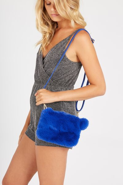 Faux Fur Clutch Bag, ELECTRIC BLUE