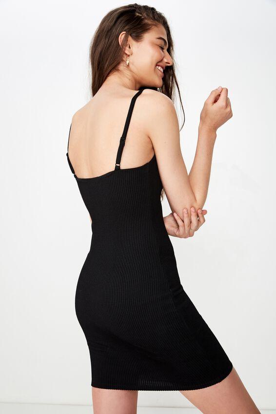 Cameron Rib Mini Dress, BLACK