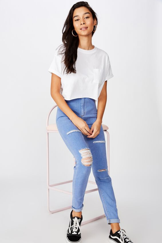 Super Skinny Sky High Ripped Jean, VIBRANT BLUE RIPPED