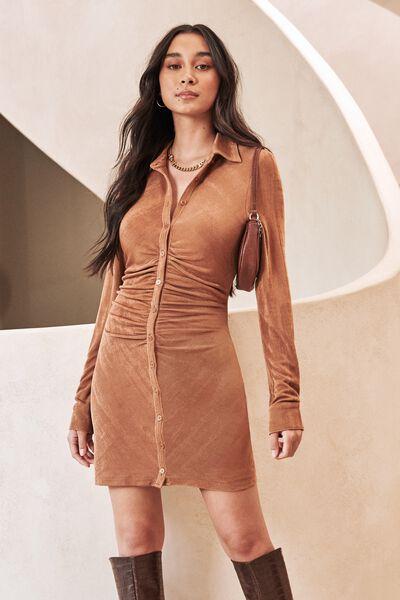 Lana Gathered Shirt Dress, CARAMEL