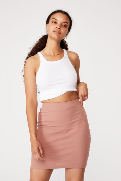 Kennedy Rib Mini Skirt, BLUSH BRONZE