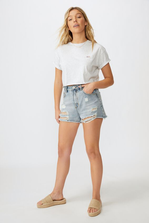 United States Crop Tee, LIGHT GREY MARLE/SANTA CRUZ BEACH
