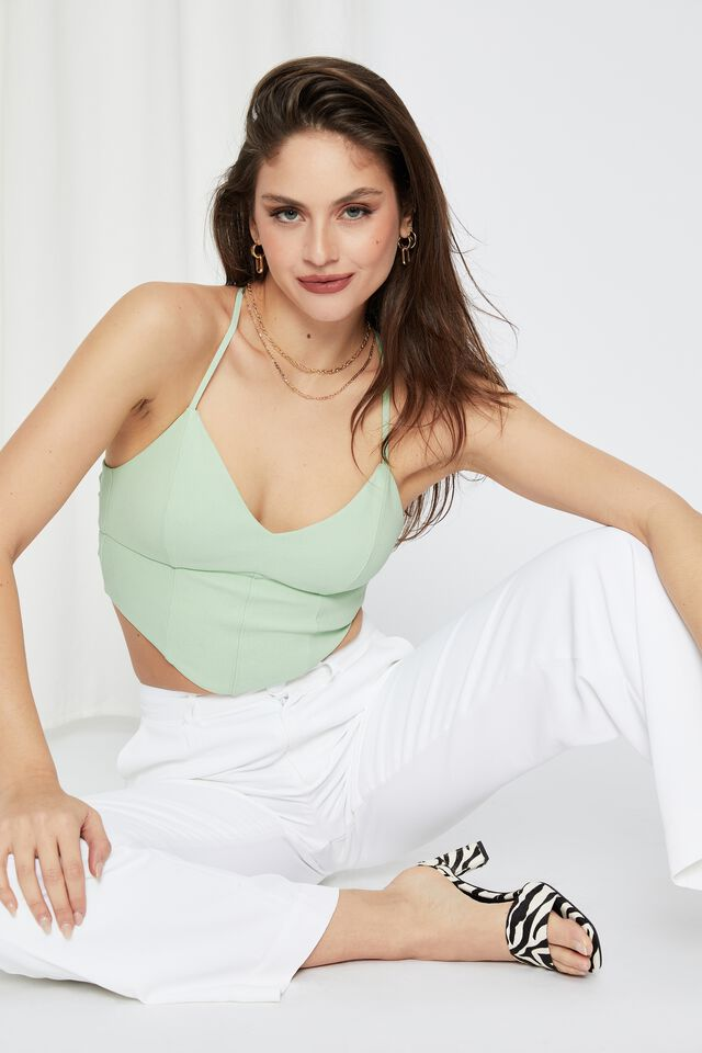 Molly Tie Up Backless Top, NEO GREEN