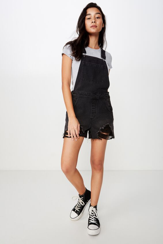 Aline Denim Dungaree, WASHED BLACK RIPPED