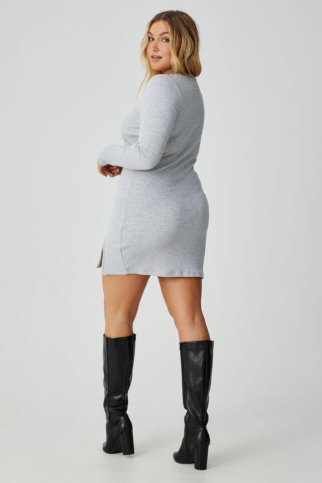 Laila Long Sleeve Mini Dress, GREY MARLE