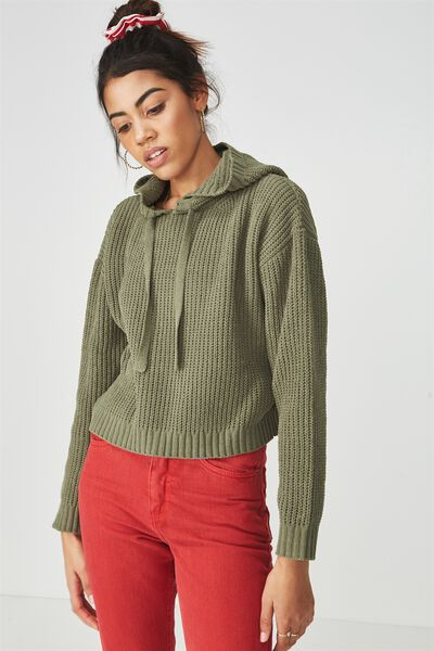 Chenille Hooded Knit Sweater, LIGHT KHAKI