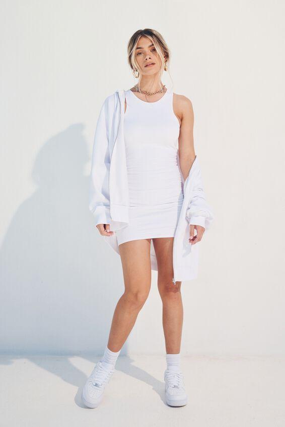 Zola Oversized Zip Through Hoodie, WHITE