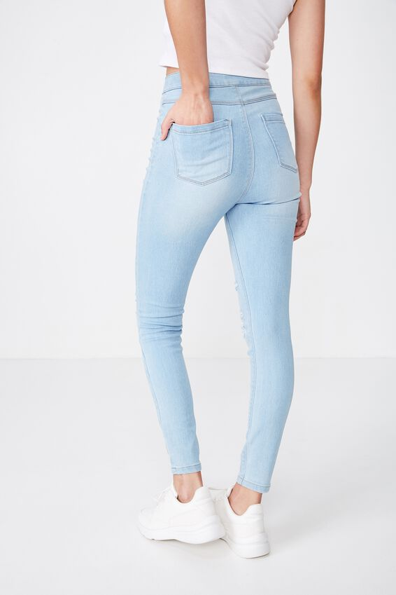 Long Super Skinny Sky High Ripped Jean, BABY BLUE