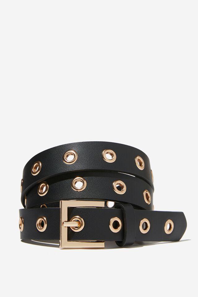 Callie Square Mini Belt, BLACK