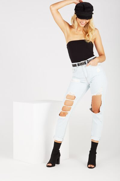 The Cool Mom Ultra Destroyed Denim Jean, WASHED BLUE