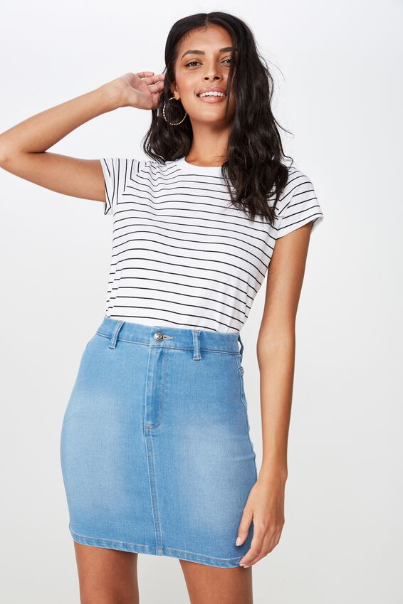 Chloe Stretch Denim Mini Skirt, WAVE BLUE