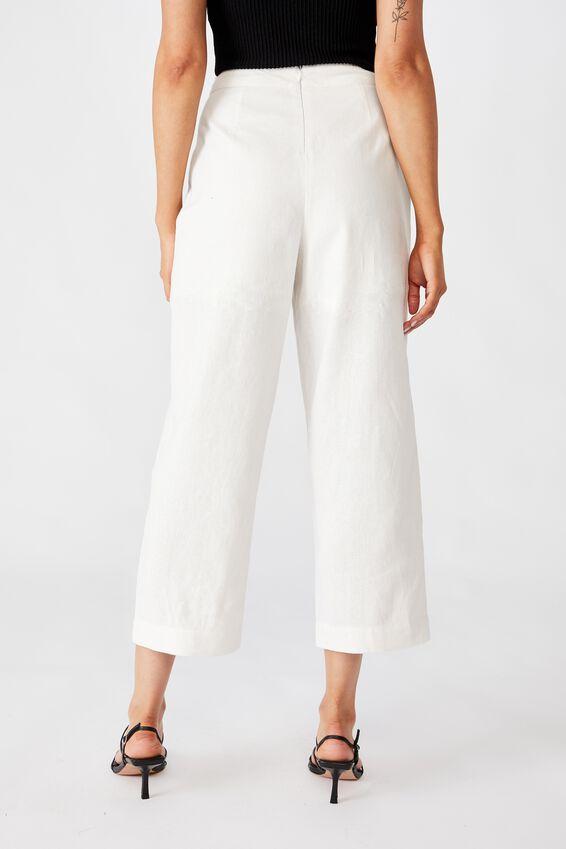 Parker Wide Leg Pant, WHITE