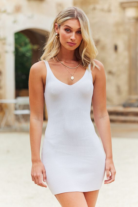 Felicity V-Neck Knit Dress, WHITE