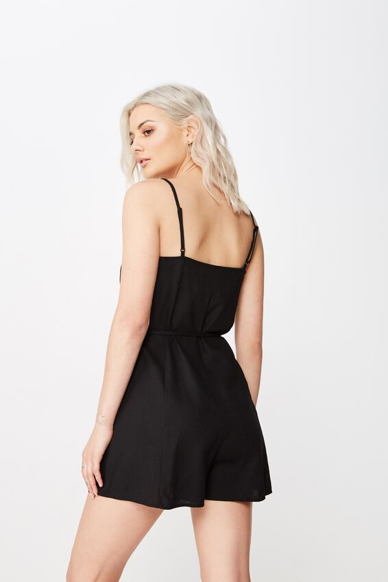 Charlie Button Front Linen Playsuit, BLACK