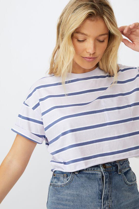 Ciara Crop T-Shirt, COLLEGE STRIPE  WHT J BLUE LILAC
