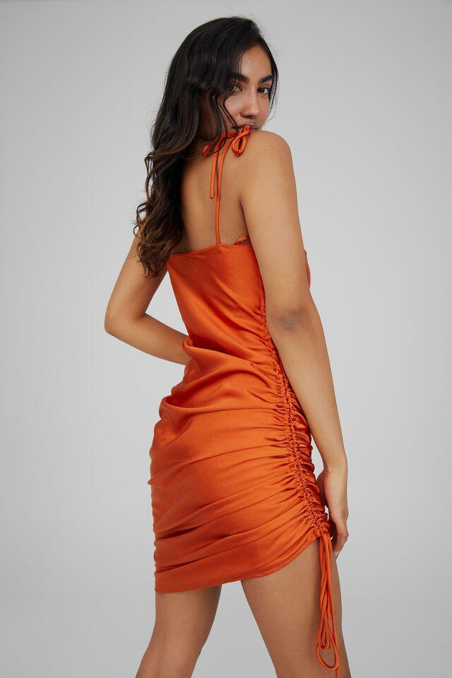 Cameron Cowl Neck Ruched Midi Dress, DEEP ORANGE