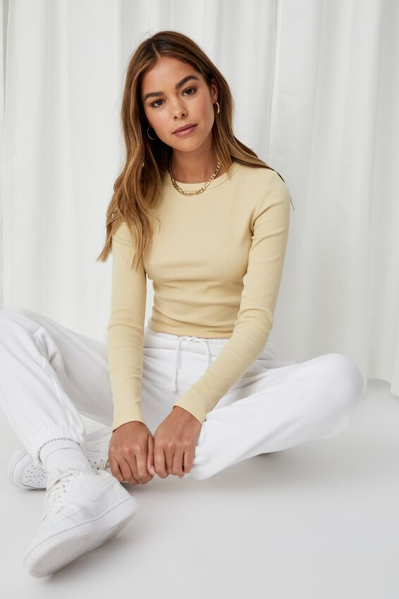 Aspen Long Sleeve Rib Top, BUTTERMILK