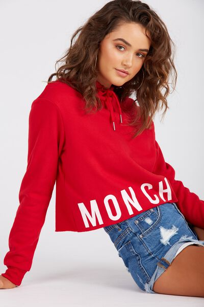 Raw Cut Graphic Hoodie, RED/MONCHERI
