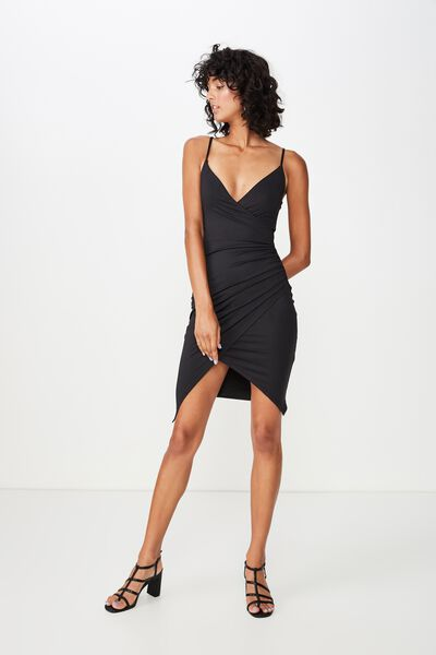 Luxe Strappy Wrap Dress, BLACK