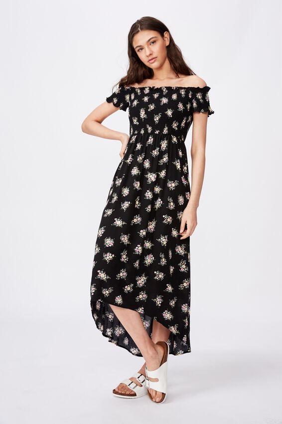 Lennie Off Shoulder Shirred Dress, BLACK BOUQUET FLORAL