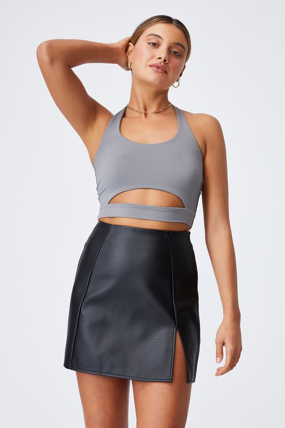 Lily Halter Neck Cut Out Top, CEMENT GREY