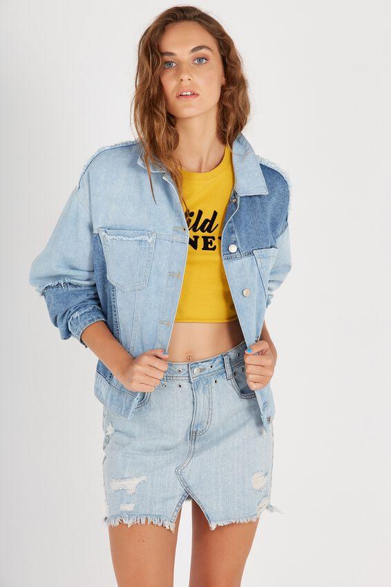 The Contrast Denim Jacket | Tuggl