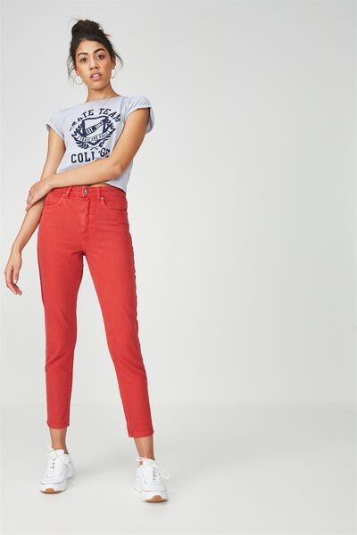 The Cool Mom Denim Jean, RED