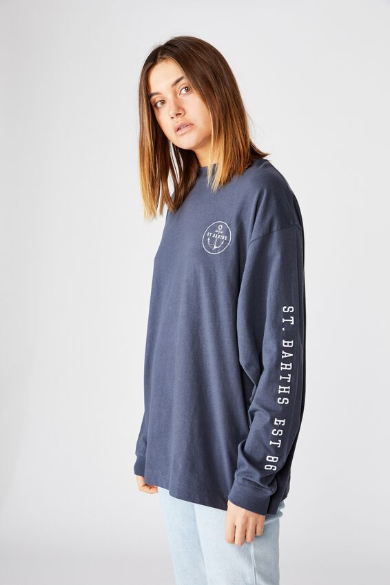 St Barths Long Sleeve Tee, WASHED NAVY/ST BARTHS ANCHOR