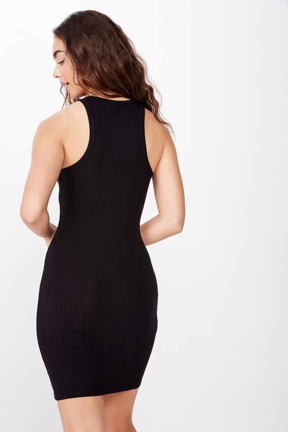 Reese Tank Rib Mini Dress, BLACK