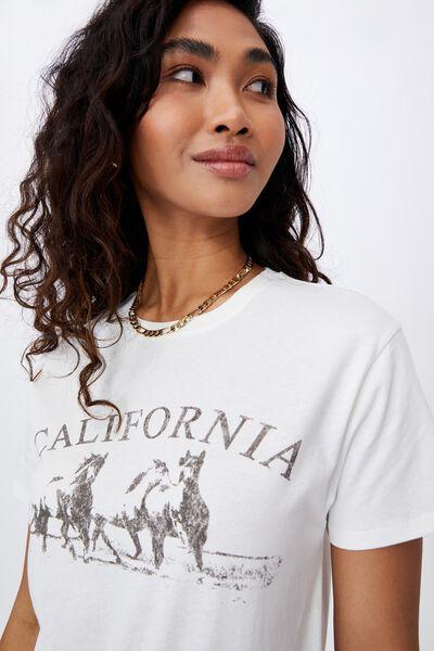 Lola Printed Longline T Shirt, WINTER WHITE/CALIFORNIA HORSES