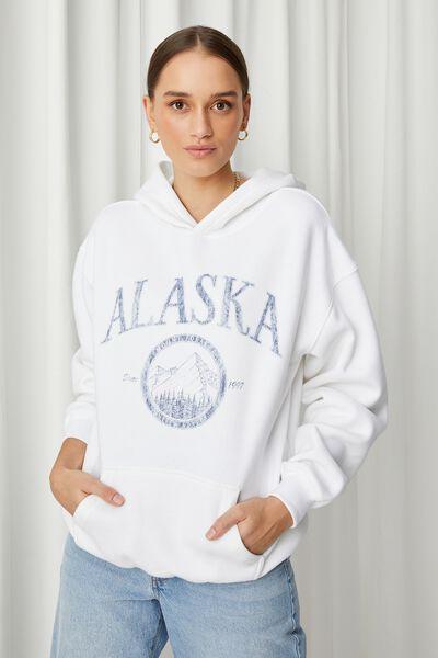 Paige Oversized Printed Hoodie, WHITE/ALASKA