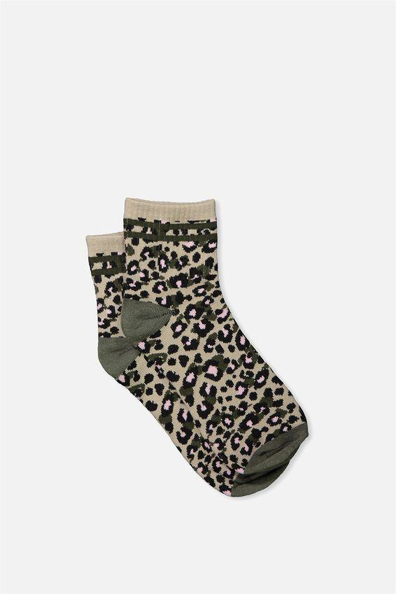 Wild Crew Socks, LEOPARD KHAKI