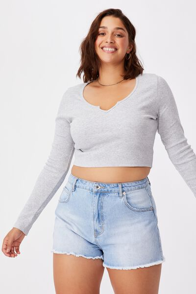 Shai Notch Front Top, GREY MARLE