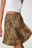 Zoe Mini Satin Skirt, OCELOT LEOPARD