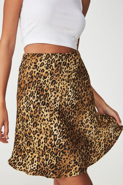 Zoe Mini Satin Skirt, OCELOT LEOPARD
