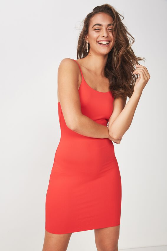Party Strappy Back Mini Dress, FIRE RED