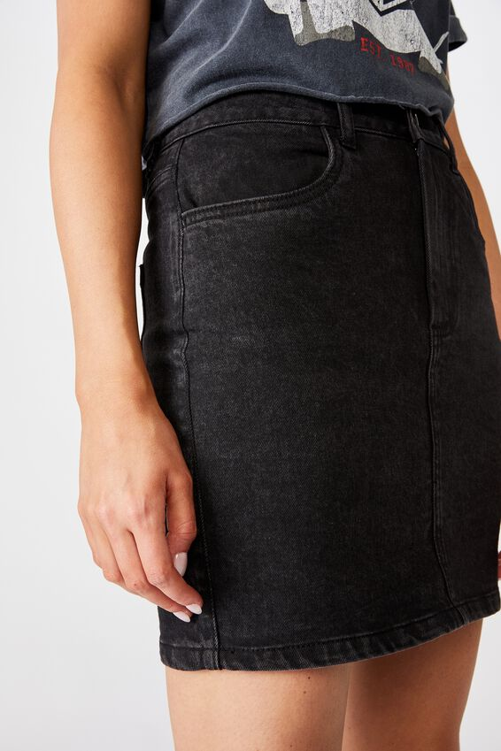 Clara Stretch Denim Skirt, WASHED BLACK