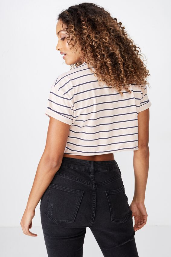 Ciara Crop Tee, NINA STRIPE (DIV PNK/GRANITE GREY/WHT)
