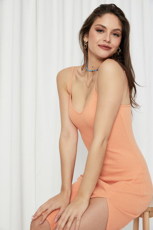 Gemma Split Midi Dress, SUNRISE ORANGE